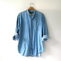 vintage washed out jean shirt. oversized denim shirt. button down shirt. denim pocket shirt.
