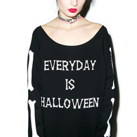 Nikki Lipstick Everyday Is Halloween Crewneck Black One