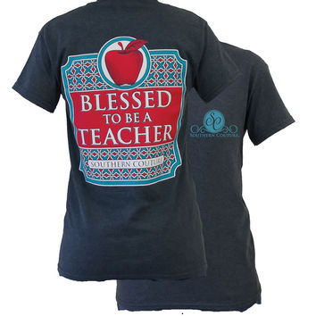 Southern Couture Preppy Blessed to be a Teacher Girlie Bright T Shirt