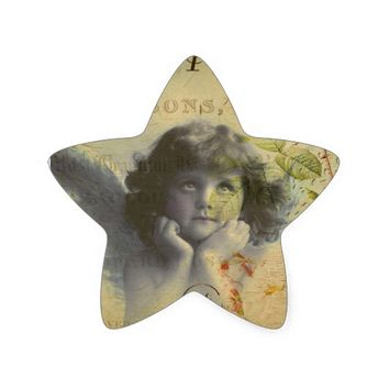 French Postcard Star Sticker