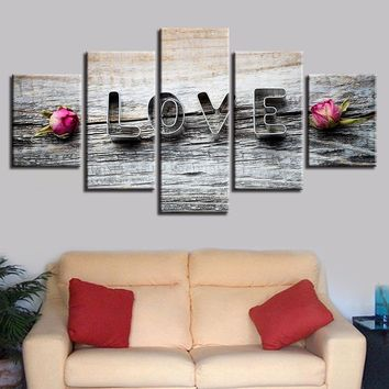 Pink Rose Flower And Love Wood Wall Art 5 Panel Pieces Picture Print Modern Art