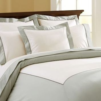 Banded Hemstitch 400-Thread-Count Duvet Cover & Sham - Porcelain Blue | Pottery Barn