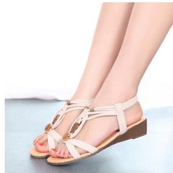 Women's Low Wedge Casual Slip On Boho Style Leather Sandals