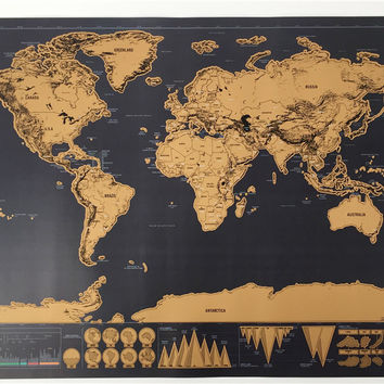 drop shipping  Deluxe blow Map Personalized World Map Mini Foil Layer Coating Poster wall sticker poster for living room travel