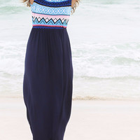 Cast Away Tribal Print Top Solid Navy Skirt Maxi Dress