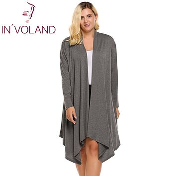 IN'VOLAND Women's Cardigan Autumn Plus Size Long Sleeve Solid Draped Open Front Asymmetrical Long Ladies Cardigan Oversized 5XL