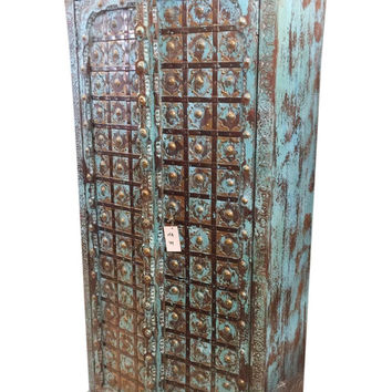 Antique Cabinet distressed bLUE Rustic Teak Wood Door Vintage ARMOIRE Spanish Style