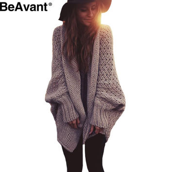 BeAvant batwing knitted shawl cardigan sweater women coat Autumn winter 2016 fashion tricot warm shrug sweater jumpe knitwear