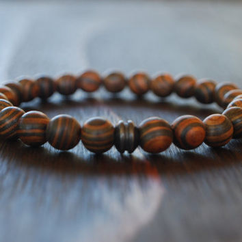 Mens Wood Bracelet - Zebra Striped Wood - Mens Beaded Bracelet