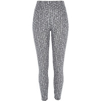 River Island Womens Grey marl ribbed high waisted leggings