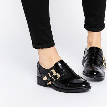 London Rebel Hamanda Strap Monk Flat Shoes