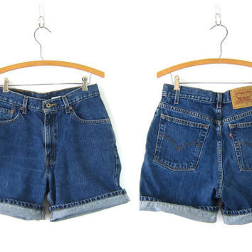 1990s LEVIS Denim Shorts Dark Wash Blue High Waist Jean Shorts Mom Jeans Denim Womens Size 8 Small Medium 30 Inch Waist