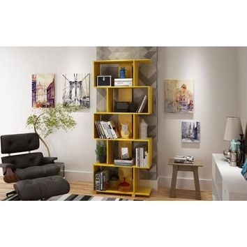 Accentuations by Manhattan Comfort Charming Petrolina Yellow Gloss Wood Z-Shelf 5-shelf Bookcase | Overstock.com Shopping - The Best Deals on Media/Bookshelves