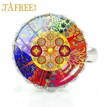 TAFREE handmade buddhism zen charm Chakra Sacred Geometry mandala rings jewelry women fashion flower art party jewellery CT410