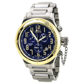 Invicta 15555 Men's Russian Diver Blue Dial Steel Bracelet Chronograph Dive Watch