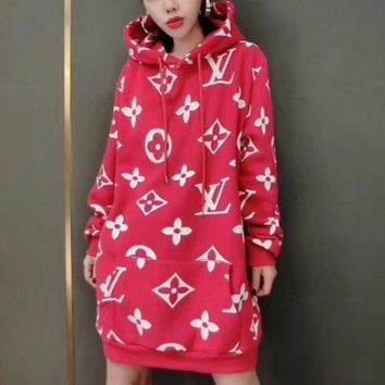 ICIKN6V LV X Supreme Long Sleeve Hooded Sweat Women Medium long Dress