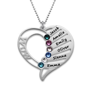 Engraved Mom Necklace Made with Swarovski Crystals-Personalized Heart Pendant- Gift Up to 6 Names