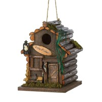 Time To Go Fishing Log Cabin Birdhouse