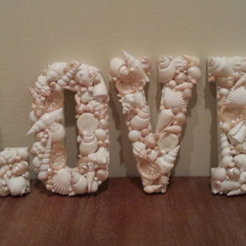 Beach Decor Shell Letters Seashell Letters Home Decor Coastal Decor Nautical