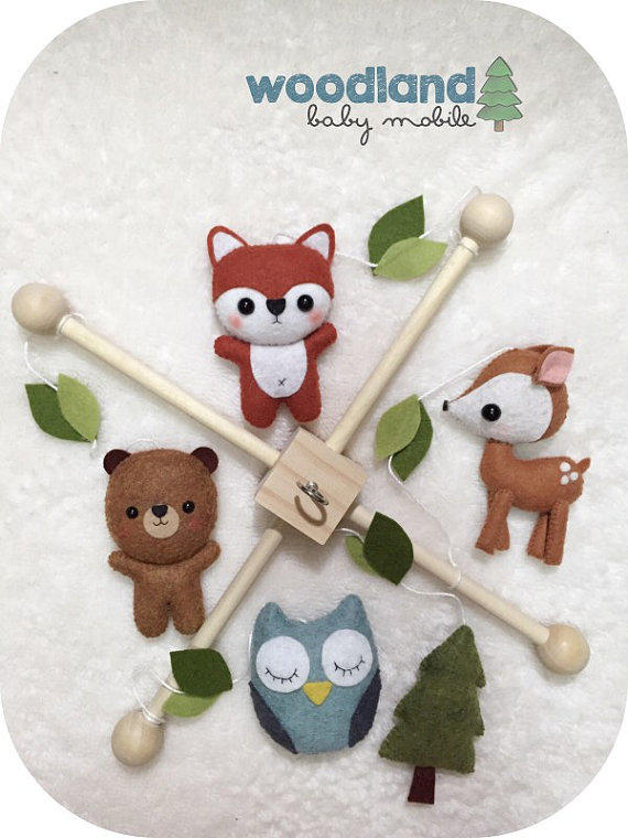 Woodland baby crib mobile forest from pinktopic on etsy for Woodland animals nursery mobile