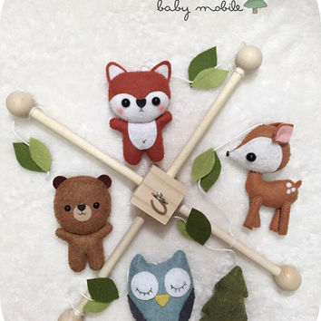 Woodland Baby Crib Mobile - Forest Nursery Decor - Custom Color