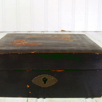 Primitive Lacquered Square Wooden Box - Vintage Handcrafted Case - Petite Chippy Asian Design Container