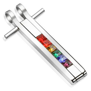 Indomitable – Rainbow colored gemstone bar pendant set in polished stainless steel
