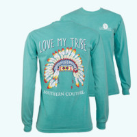 Southern Couture My Tribe Feathers Comfort Colors Long Sleeve T-Shirt