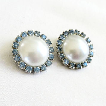 White Glass Pearl Button Earrings Encircled with Blue Rhinestones Vintage Bridal Wedding