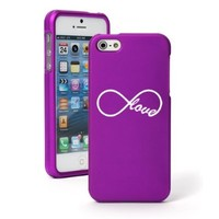 Apple iPhone 5 5S Purple Rubber Hard Case Snap on 2 piece Infinity Infinite Love Symbol