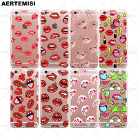 Phone Cases Kylie Jenner Lipstick Lip Cosmetics Clear TPU Case Cover for Apple iPhone 5 5s SE 6 6s 7 Plus