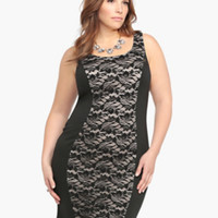 Lace Front Bodycon Ponte Dress