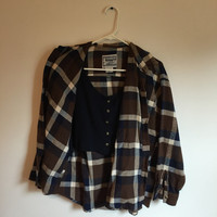 Vintage 90s Grunge Flannel with Crop Top, Crop Top, 90s Grunge, Vintage Shirt, Vintage Flannel, Vintage Crop Top, Size Large