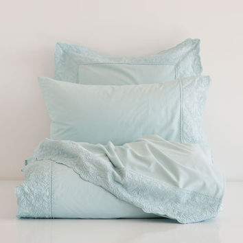 SEA BLUE EMBROIDERED PERCALE BED LINEN - Bedding - Bedroom | Zara Home United States