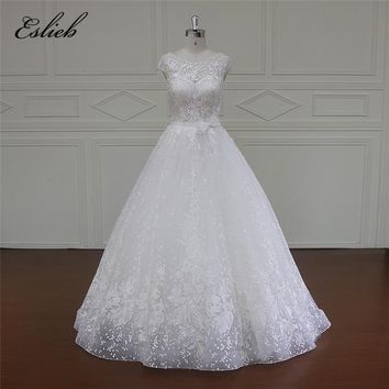 2017 New Arrival High Quality Tailored Short Sleeve A Line Wedding Dresses Custom Size Appliques Tulle Free Shipping Bridal Gown