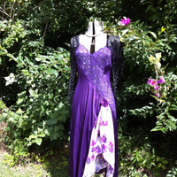 Purple Recycled Slip Dress / Bohemian Dress  / upcycled clothing / Eco Fashion / Eco Friendly Dress / Alternative Fashion /  By Intrigues