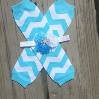 Frozen Blue Chevron Leg Warmer Headband Set - Elsa Frozen Birthday - Girl - Snowflake Headband