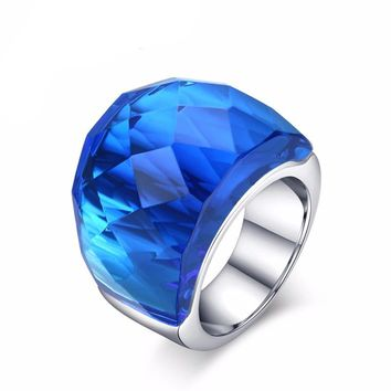Crystal Stainless Steel Rings for Women Wedding Ring Sets Promise Rings