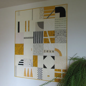 Modern Quilt, Art Quilt, Lap Quilt, Black, White and Mustard, Abstract Quilt