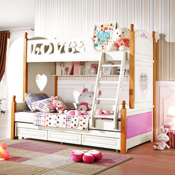 Webetop Modern Home Furniture Wooden Bunk Bed Young Girls Bed beliche New Energetic Color Double Bed with Trailer Bed