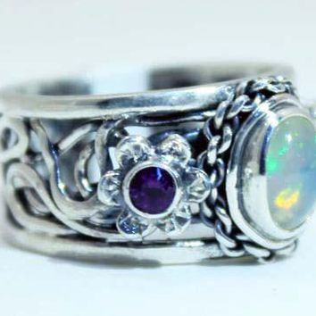Beautifully Detailed Sterling Silver Ethiopian Opal & Amethyst Flower ring