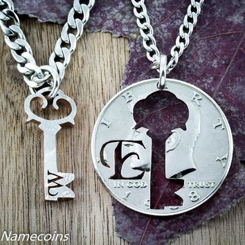 Couples Key necklaces with initials Inside and Outside pieces