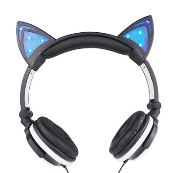 Black Foldable Flashing Glowing Cat Ear Headphones Gaming Game Headset with LED light For PC Laptop Computer Mobile Phone