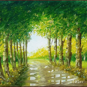 Little Italian painting toward the light wood path original oil canvsa of Luciano Torsi