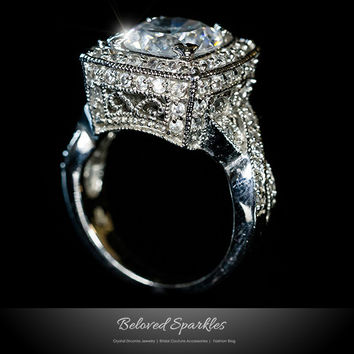 Giovanna Vintage Filigree Engagement Cocktail Ring | 11 Carat | Cubic Zirconia