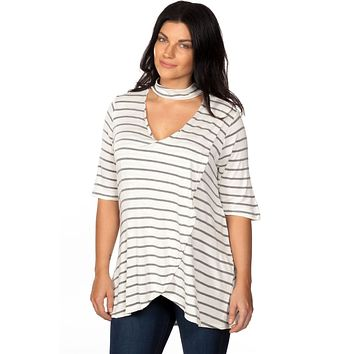 Ladies fashion plus size mock neck choker keyhole stripe asymmetric top