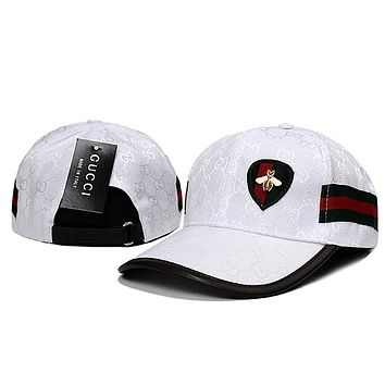 GUCCI Women Men Stripe Little Bee Adjustable Travel Hat Sport Cap