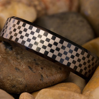 Tungsten Carbide Band 7mm Beveled Black Checkered Design Ring