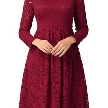 Burgundy Patchwork Lace Pleated Long Sleeve Elegant Formal Midi Dress
