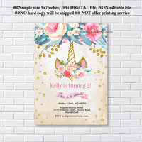 Unicorn invites, Birthday Invitation, gold unicorn girl birthday party for any age 1st 2nd 3rd 4th 5th 6th 7th 8th 9th 10th- card 1244